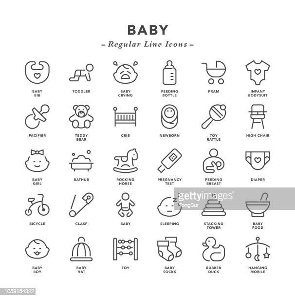 baby - regular line icons - childbirth stock illustrations