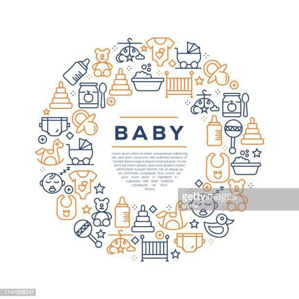 赤ちゃん関連のコンセプト-カラフルなラインアイコン、円で配置 - 親点のイラスト素材/クリップアート素材/マンガ素材/アイコン素材