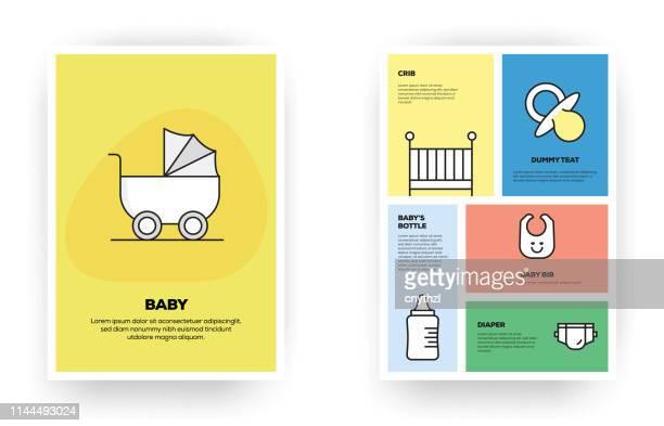 ilustrações de stock, clip art, desenhos animados e ícones de baby related infographic - chadebebe