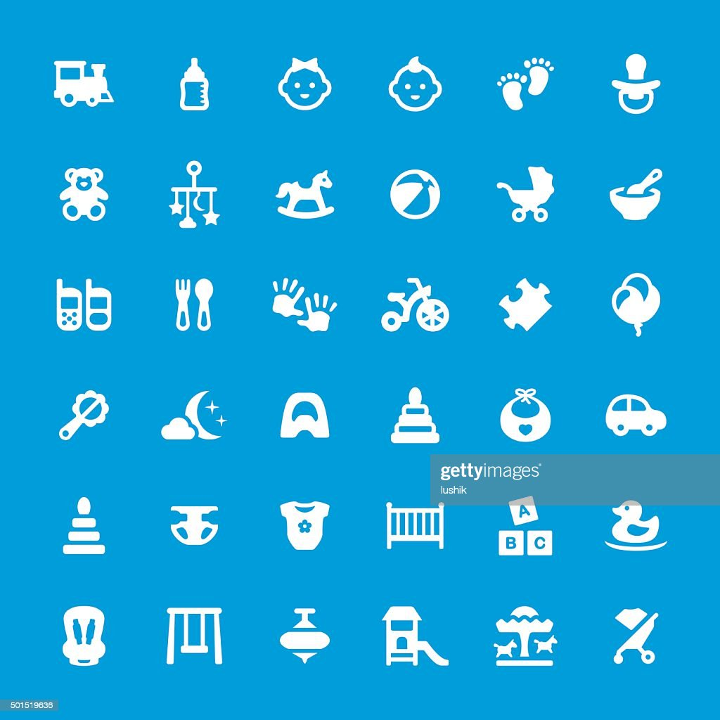 Baby related vector icon set