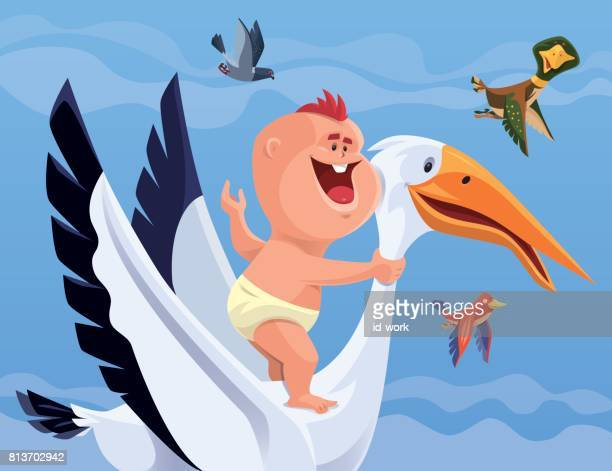 baby riding stork