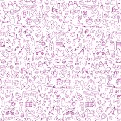 Baby seamless hand drawn doodle pattern