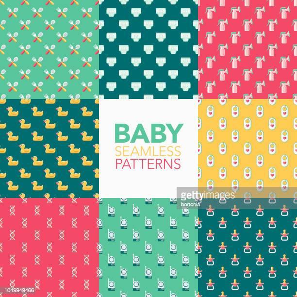 ilustrações de stock, clip art, desenhos animados e ícones de baby seamless pattern set - chadebebe