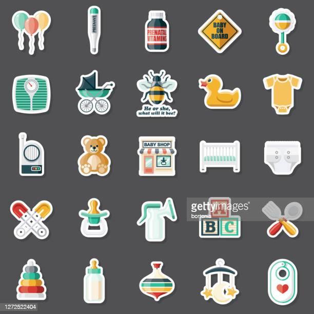 baby shop sticker set - toy rattle stock illustrations