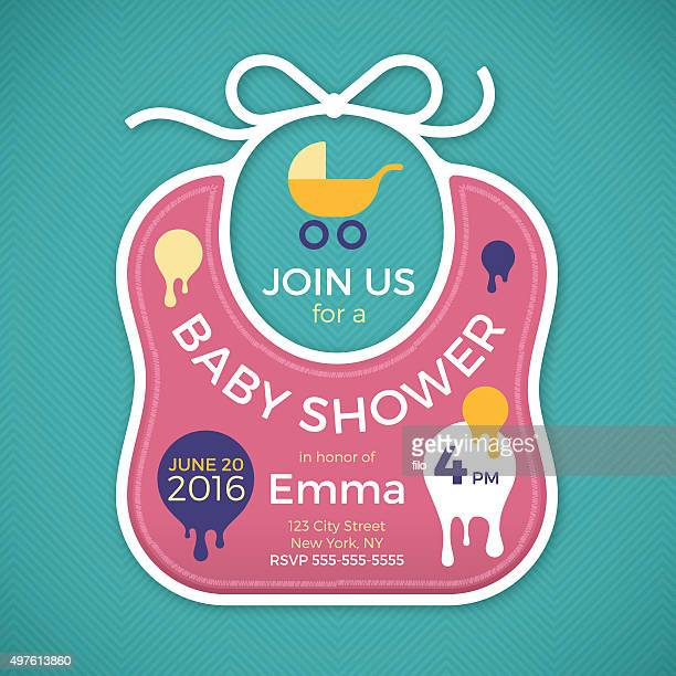 baby shower baby bib - three wheeled pushchair stock illustrations, clip art, cartoons, & icons