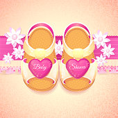 Baby Shower baby girl pink shoes.