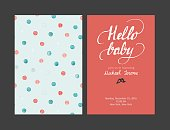 Baby shower boy or girl invitation, vector templates. Pastel cards