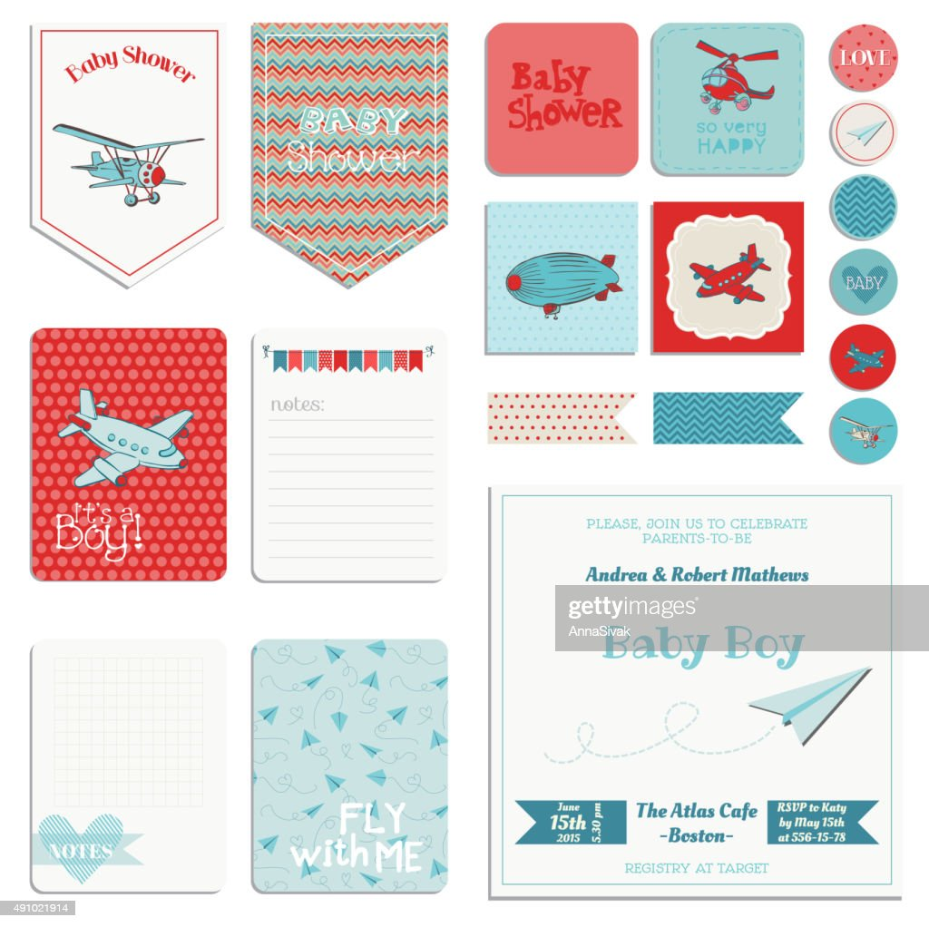 Baby Shower Boy Set - Tags, Banners, Labels, Cards