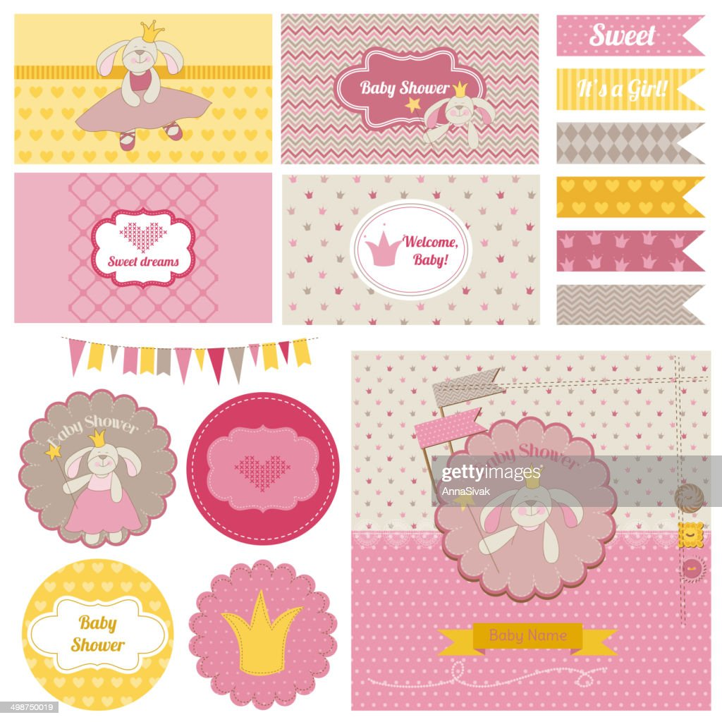 Baby Shower Bunny Party Set - for design and scrapbook