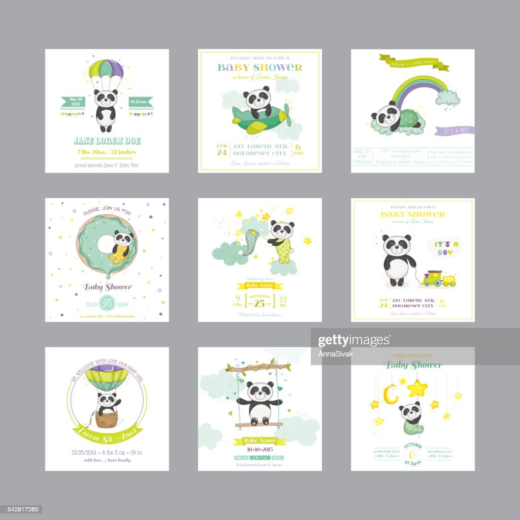 Baby Shower Card. Arrival Baby Card. Baby Panda Animal