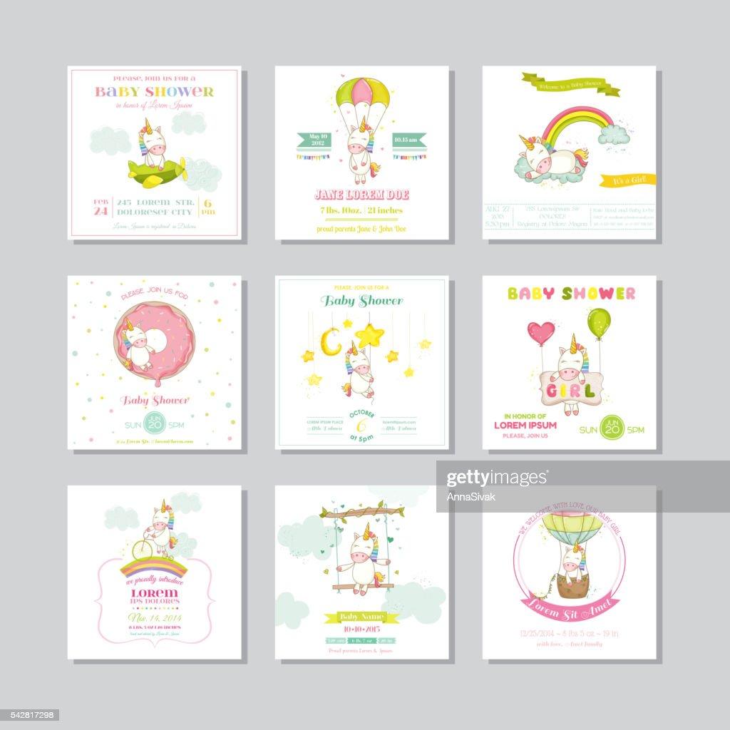 Baby Shower Karte Text.Babydusche Karte Babyanreisekarte Baby Einhorn Madchen Stock
