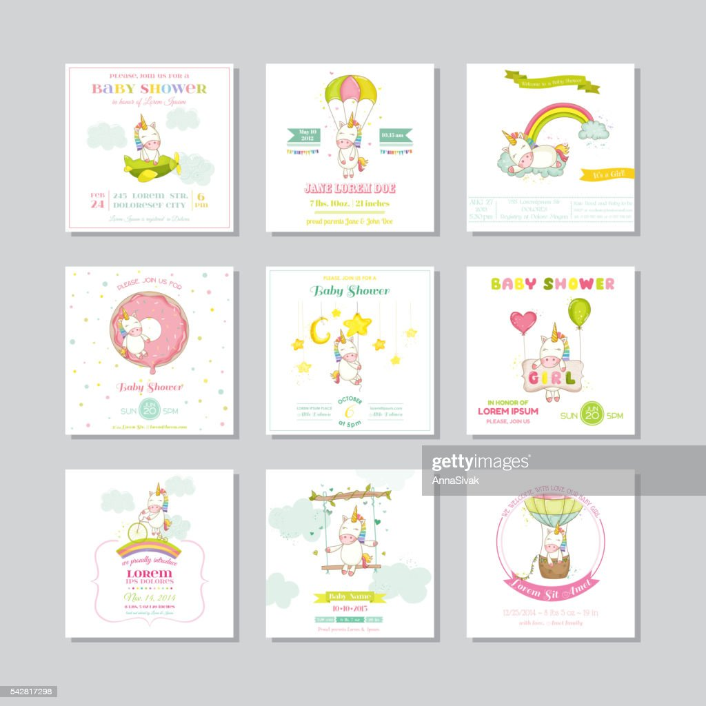 Baby Shower Card. Arrival Baby Card. Baby Unicorn Girl