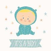 Baby shower card for baby boy. Cute baby boy sitting. Blond toddler boy.