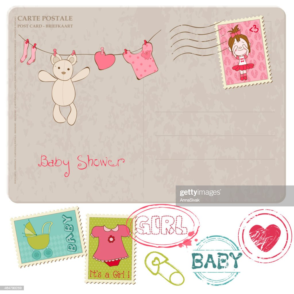 A baby shower card template with stamps