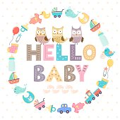 Baby shower card with a text Hello baby