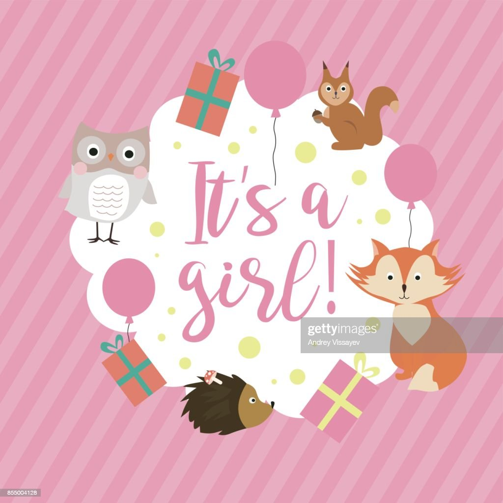 Baby Shower Card With Forest Animals Cute Greeting Or Invitation