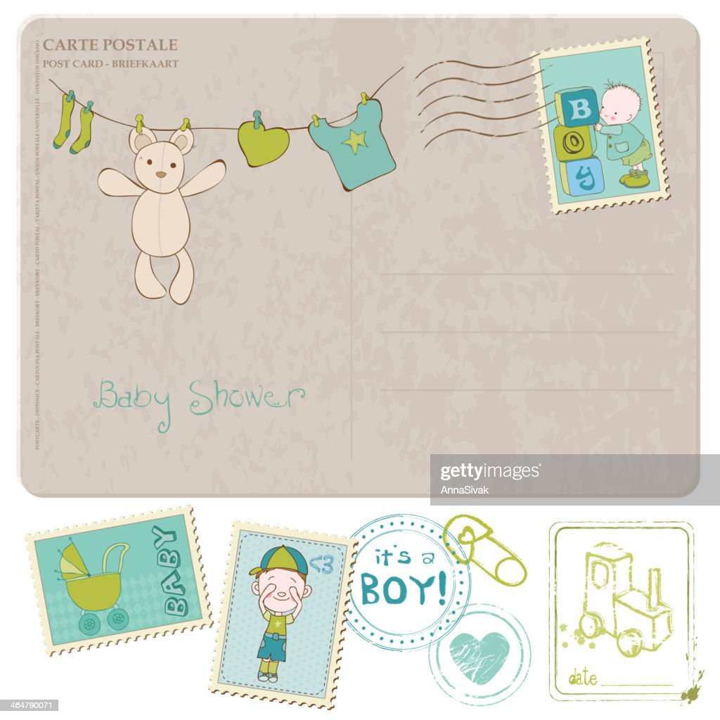 Baby shower card with set of stamps and drawings