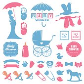 Baby shower design elements vector set.