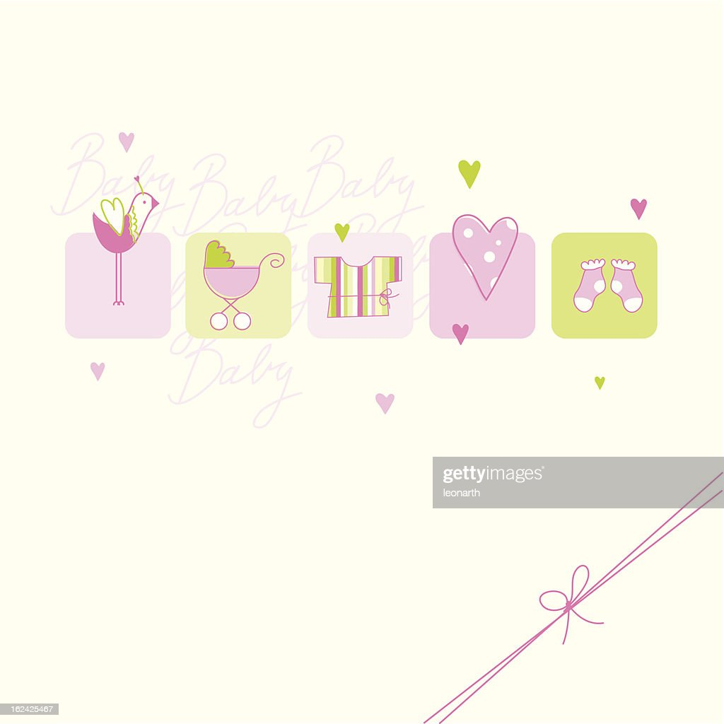 Baby shower design with hearts and designs in pink and green
