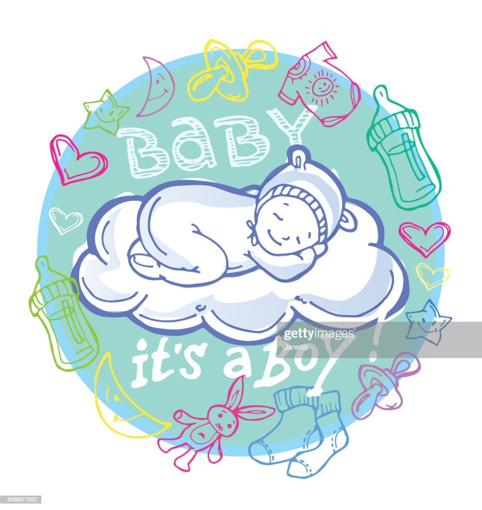 Baby Shower Doodle Template Vector Art | Getty Images