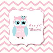 Baby shower for girls with pink owl, illustration