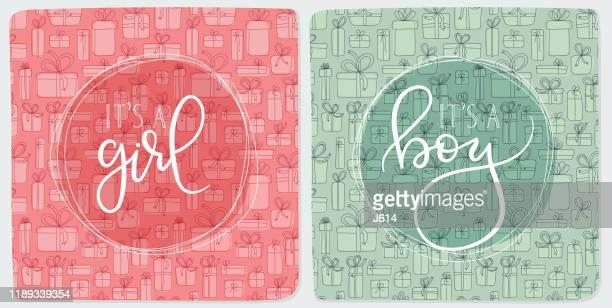 ベビーシャワーギフトカード - 出産点のイラスト素材/クリップアート素材/マンガ素材/アイコン素材