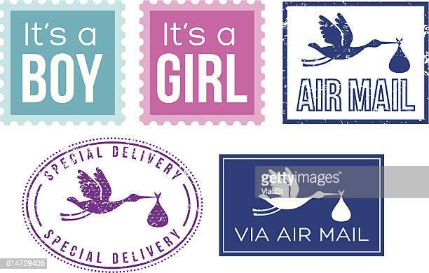 illustrazioni stock, clip art, cartoni animati e icone di tendenza di baby doccia carta di auguri elementi - rosa pallido