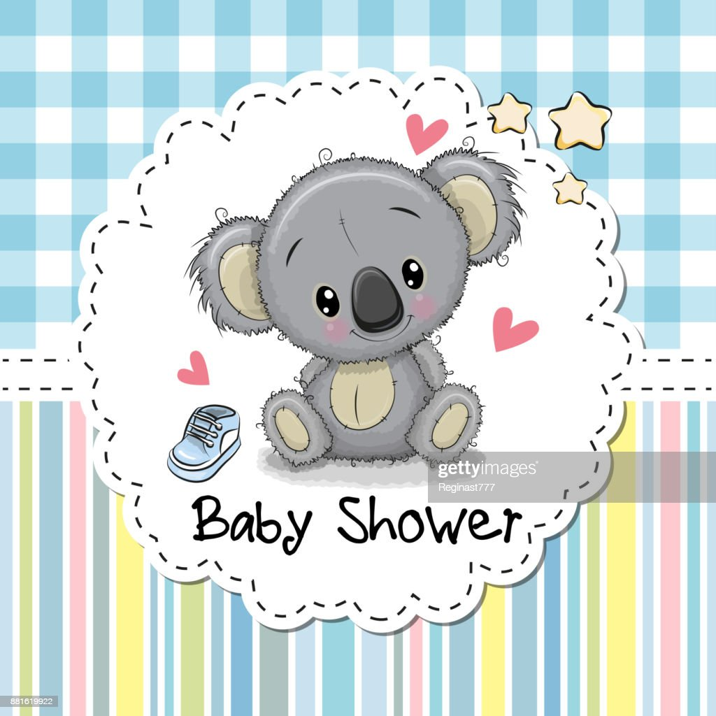 Baby Shower Greeting Card With Cartoon Koala Vector Art Getty Images