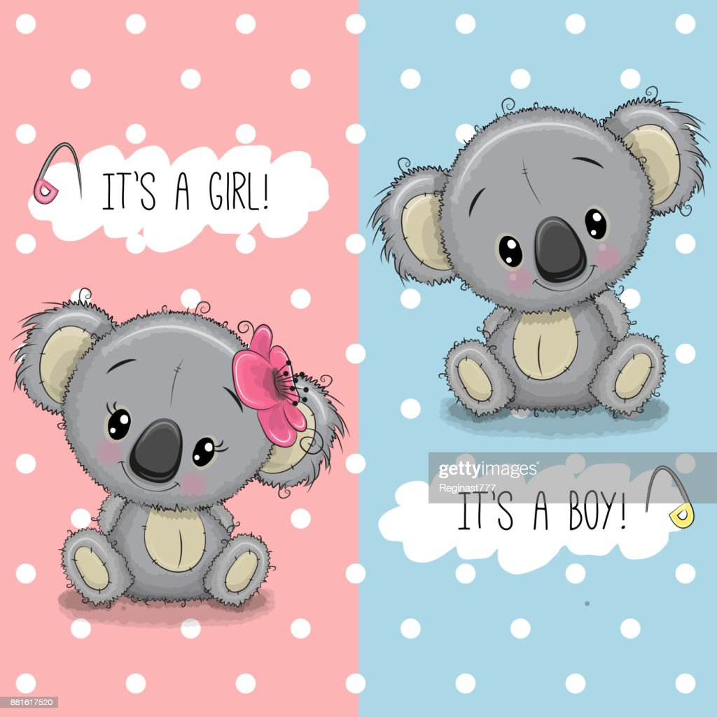 Baby shower greeting card with koalas boy and girl vector art baby shower greeting card with koalas boy and girl m4hsunfo
