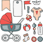 Baby shower hand drawn scrapbooking elements, isolated vectors