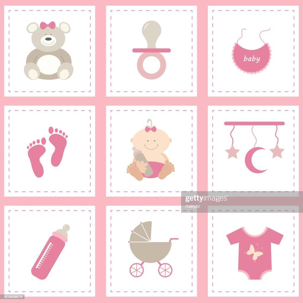 Baby shower icons set, girl pink. Flat vector design.