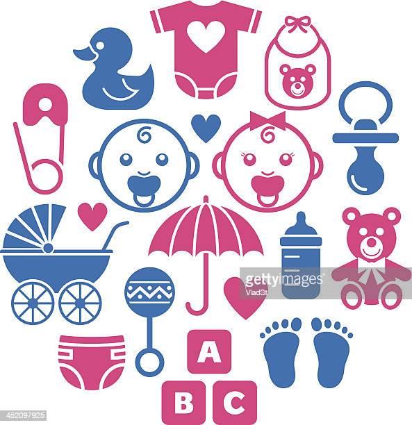 illustrazioni stock, clip art, cartoni animati e icone di tendenza di icone di doccia bambino - rosa pallido