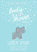 Baby shower invitation card. Cute childish background with elephant and beautiful typography. Invitation card template for baby boy little man