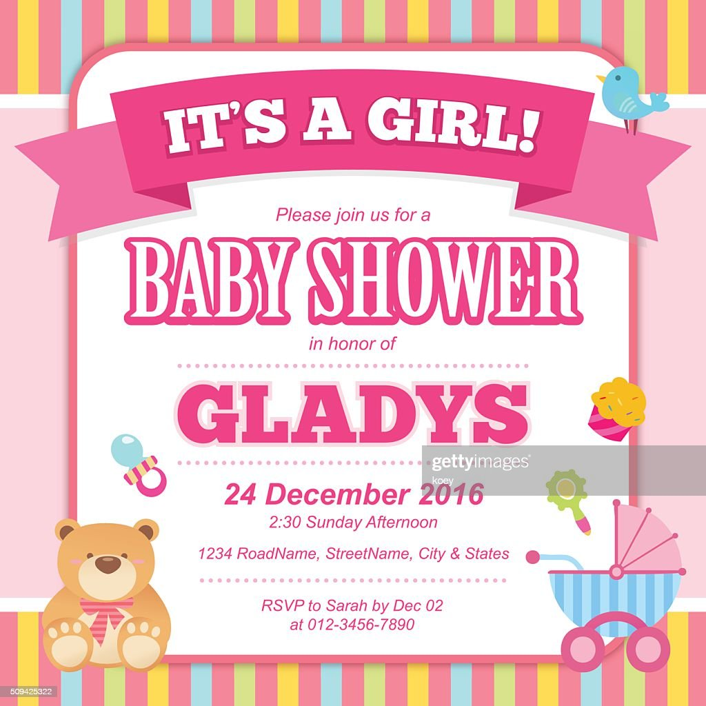 Baby Shower Invitation Card Vector Art | Getty Images