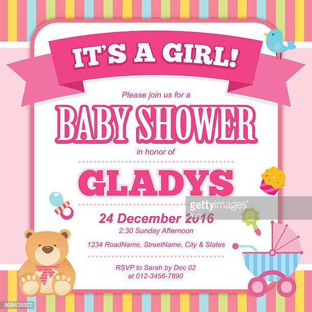 ilustrações de stock, clip art, desenhos animados e ícones de bebê menina chuveiro convite cartão - chadebebe