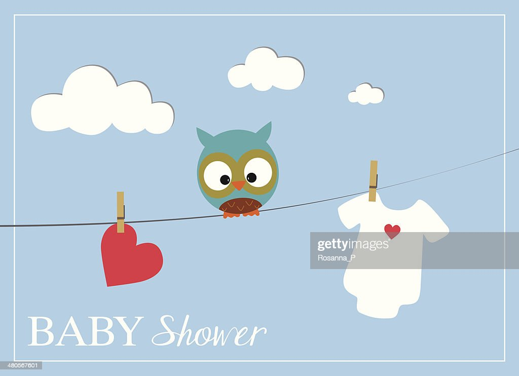 Baby shower invitation card with baby bodysuit owl and heart vector baby shower invitation card with baby bodysuit owl and heart vector art stopboris Choice Image