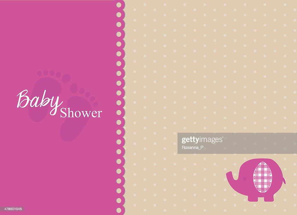 baby shower invitation card with fuchsia elephant