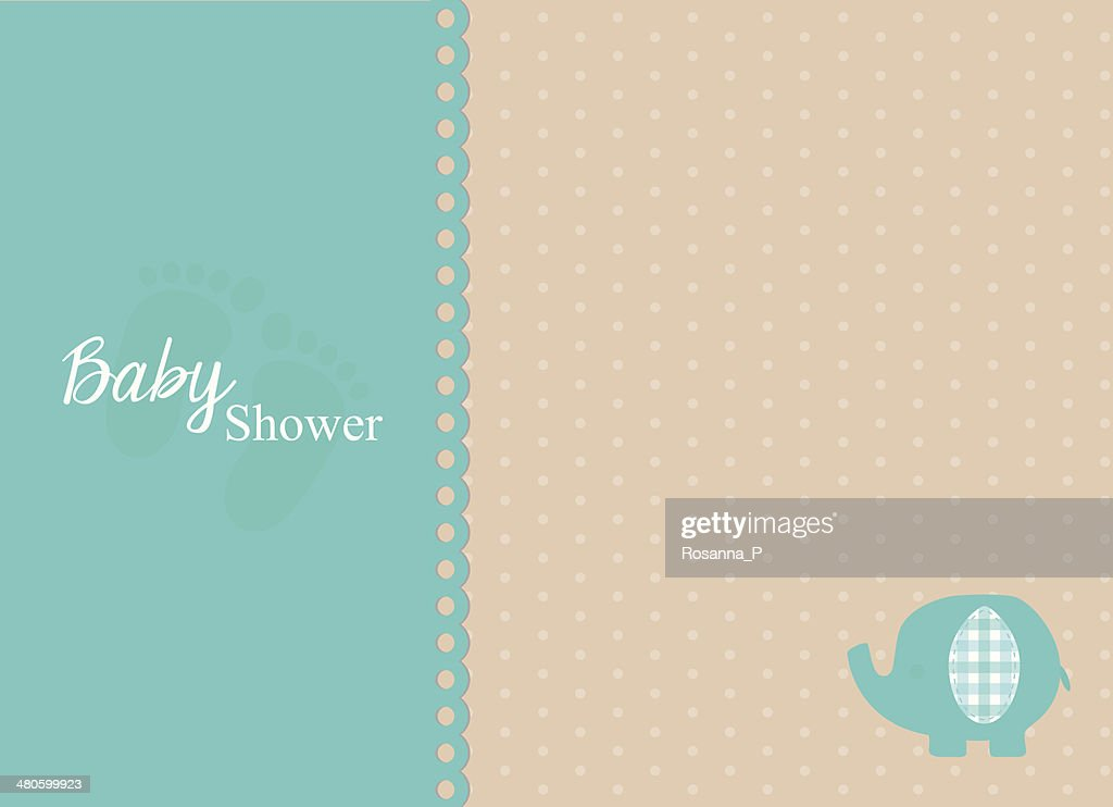 baby shower invitation card with turquoise elephant