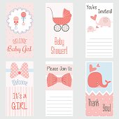 Baby Shower Invitation Card.It's a Girl.Baby Girl Shower set