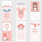 Baby Shower Invitation Card.It's a Girl.Baby Shower Greeting Card.Baby Girl Shower set.