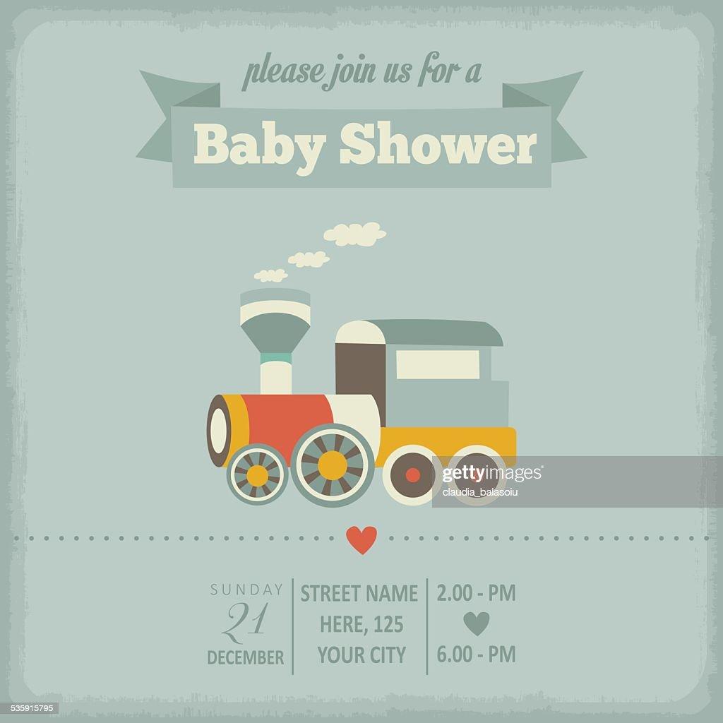 Bebê Chuveiro convite em estilo retro : Arte vetorial
