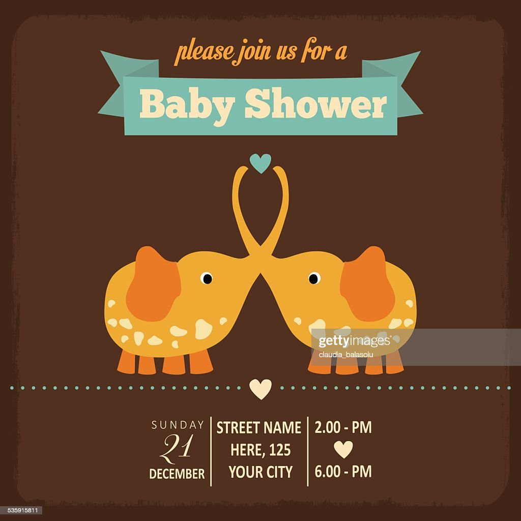 baby shower invitation in retro style : Vector Art