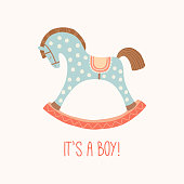 Baby shower invitation It s a boy . Cute toy horse with wheels. Kids First Toys. Baby shower design element. Cartoon vector hand drawn eps 10 illustration isolated on white background.