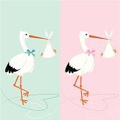 Baby shower invitation - stork with newborn