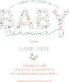Baby Shower Invitation Template - Invite with Floral Design