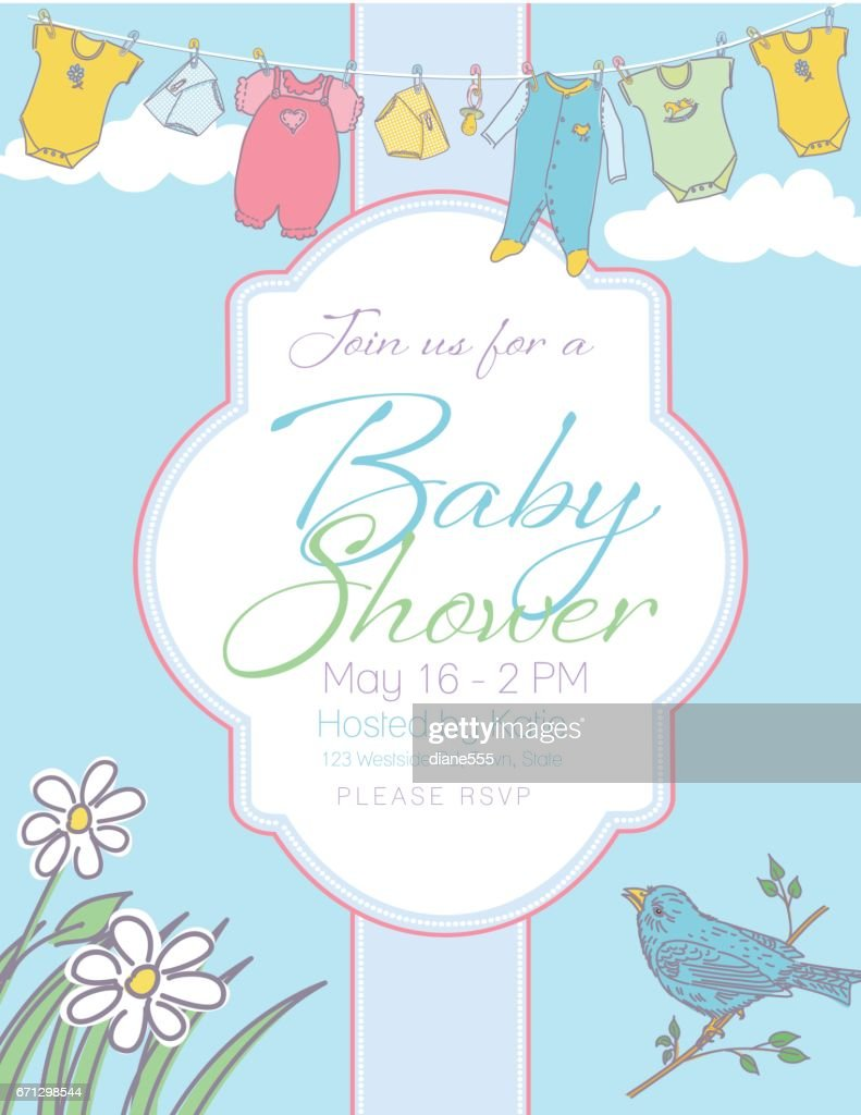 Baby Shower Invitation Template Vector Art | Getty Images
