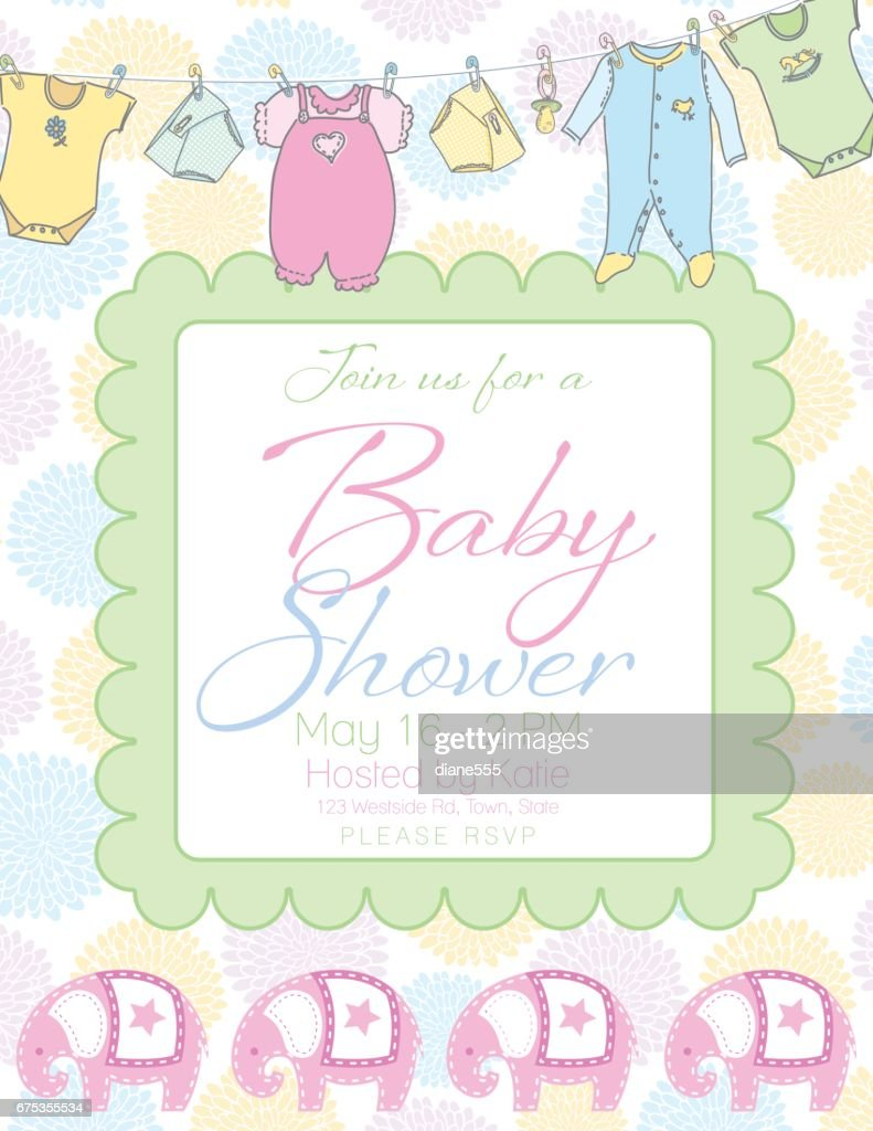 Baby Shower Invitation Template High Res Vector Graphic Getty Images
