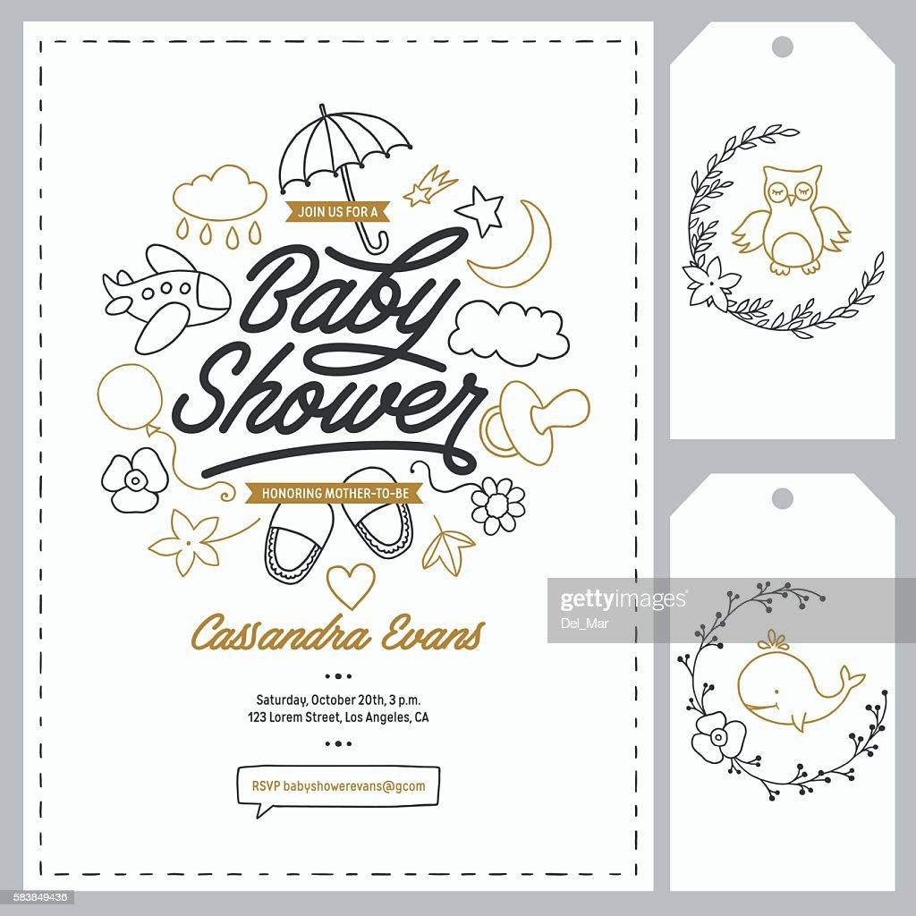 Baby shower invitation templates set. Hand drawn vintage illustration.