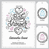 Baby shower invitation templates set. Hand drawn vintage illustration.
