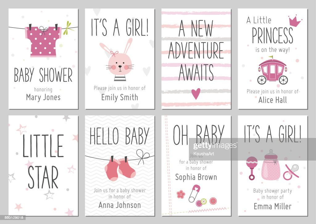 Baby shower invitations. Baby girl arrival and shower cards collection.